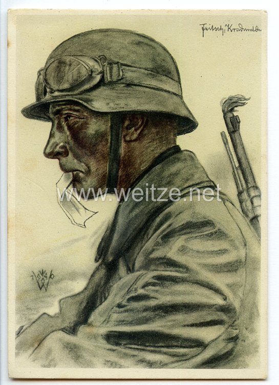 """Heer - Willrich farbige Propaganda-Postkarte - """" Kradmelder einer Panzer-Vorausabteilung """""""