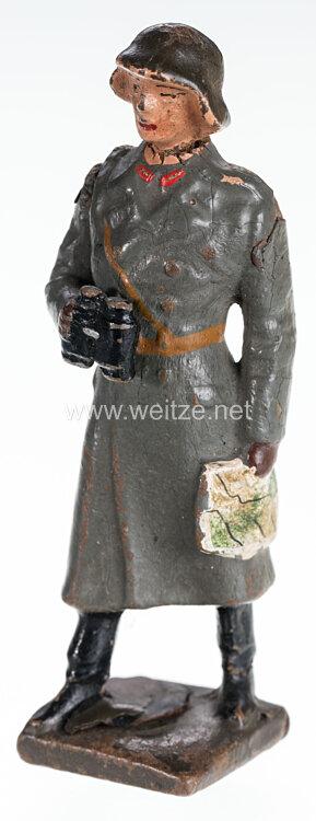 Lineol - Schweiz General im Mantel mit Fernglas und Karte stehend