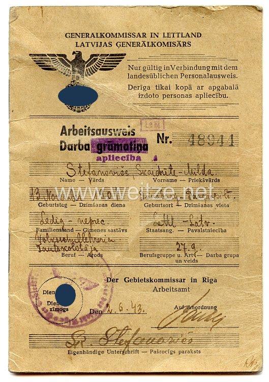 III. Reich - Generalkommissar in Lettland - Arbeitsausweis für eine Frau des Jahrgangs 1901