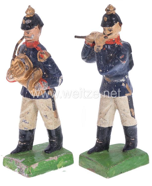 1. Weltkrieg Preussen 2 Musiker in blauer Uniform marschierend ( Pfeifer und Waldhornbläser )