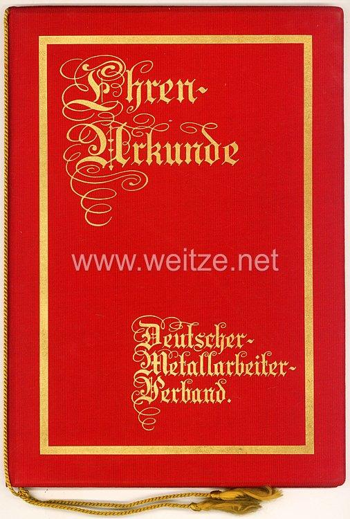 Weimarer Republik- Deutscher Metallarbeiter Verband - Ehren-Urkunde für ein Mitglied anläßlich seiner 25 jährigen Mitgliedschaft