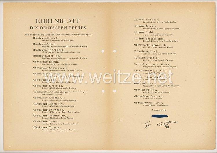 Ehrenblatt des deutschen Heeres - Ausgabe vom 7. Januar 1943