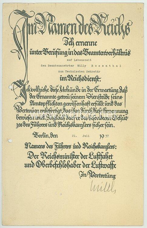 Luftwaffe - Originalunterschrift von Ritterkreuzträger Generaloberst Erhard Milch