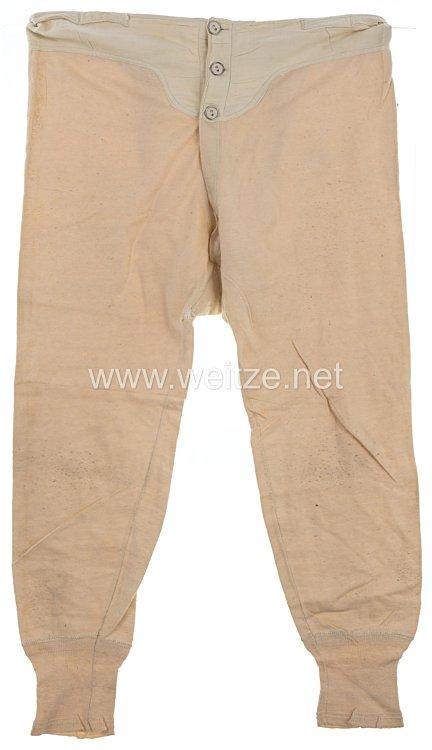 Erster Weltkrieg weiße lange Unterhose für Mannschaften, Funker Hermann 2.Kp.4 Sächsische Nachrichten-Abteilung