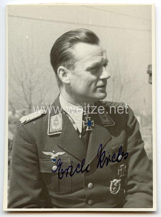 Luftwaffe - Originalunterschrift von Ritterkreuzträger Major Erich Krebs