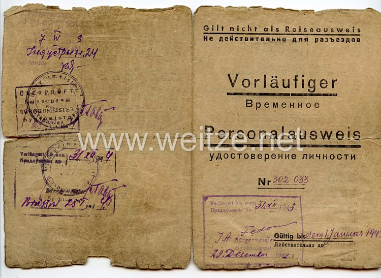 III. Reich / Weißrussland - Bürgermeister der Stadt Borrisow - Vorläufiger Personalausweis für eine Jungen des Jahrgangs 1926