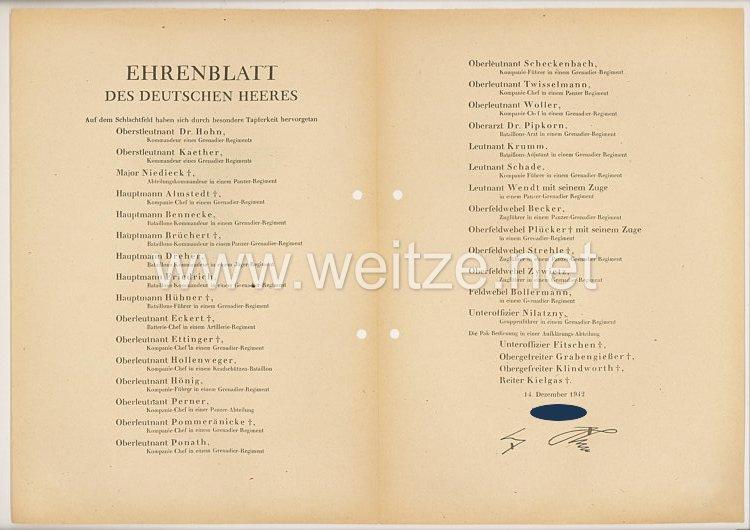 Ehrenblatt des deutschen Heeres - Ausgabe vom 14. Dezember 1942