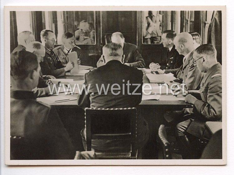 """III. Reich - Propaganda-Postkarte - """" Adolf Hitler - Compiègne 1940 - Blick in den historischen Wagen während der Verhandlungen """""""
