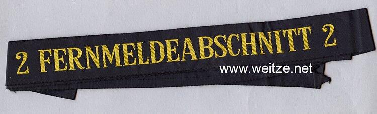 """Bundesrepublik Deutschland ( BRD ) Mützenband Bundesmarine """"2 Fernmeldeabschnitt 2 """""""