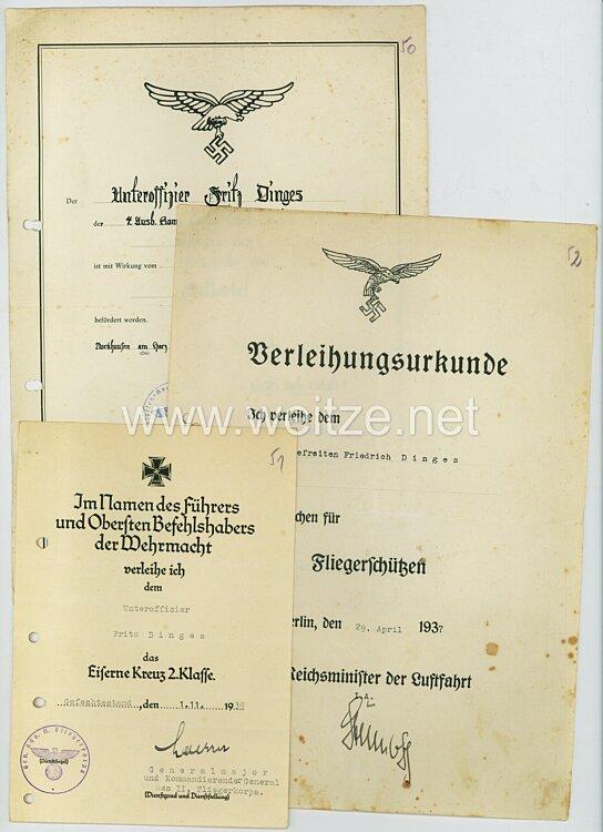 Luftwaffe - Urkundentrio für einen späteren Feldwebel der 4.Ausb.-Kp. der Luftflotten-Nachrichtenschule 1