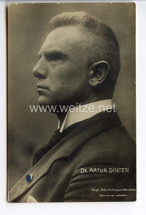 III. Reich - Portraitpostkarte von Dr. Artur Dinter (deutscher antisemitischer Schriftsteller, Gründer der Deutschen Volkskirche und völkischer Politiker )