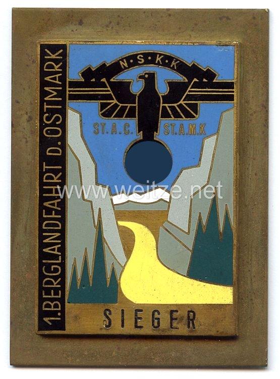 """NSKK - nichttragbare Siegerplakette - """" 1. Berglandfahrt d. Ostmark ST.A.C. ST.A.M.K. Sieger """""""