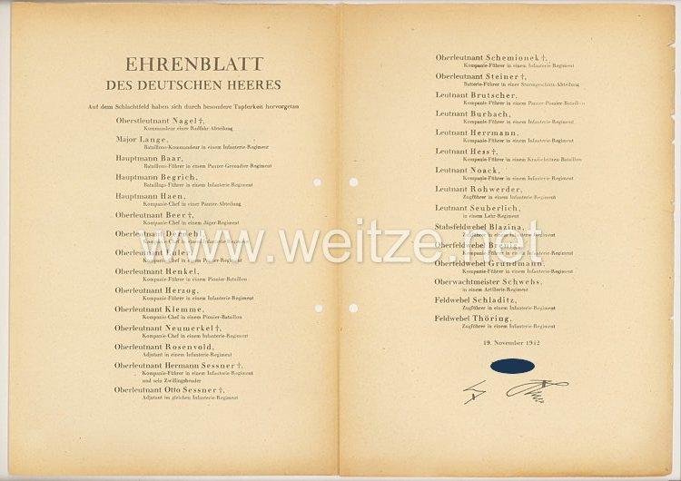 Ehrenblatt des deutschen Heeres - Ausgabe vom 19. November 1942