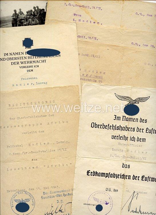 Luftwaffe - Dokumentengruppe für einen Unteroffizier und späteren Feldwebel der 2./Lw.-Bau-Btl.21/XI in Afrika