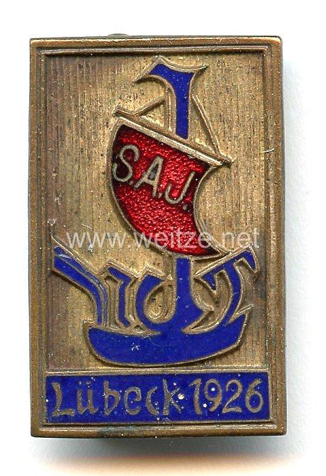 """Sozialismus - Sozialistische Arbeiterjugend Deutschlands ( SAJ ) -Abzeichen """" Lübeck 1926 """""""