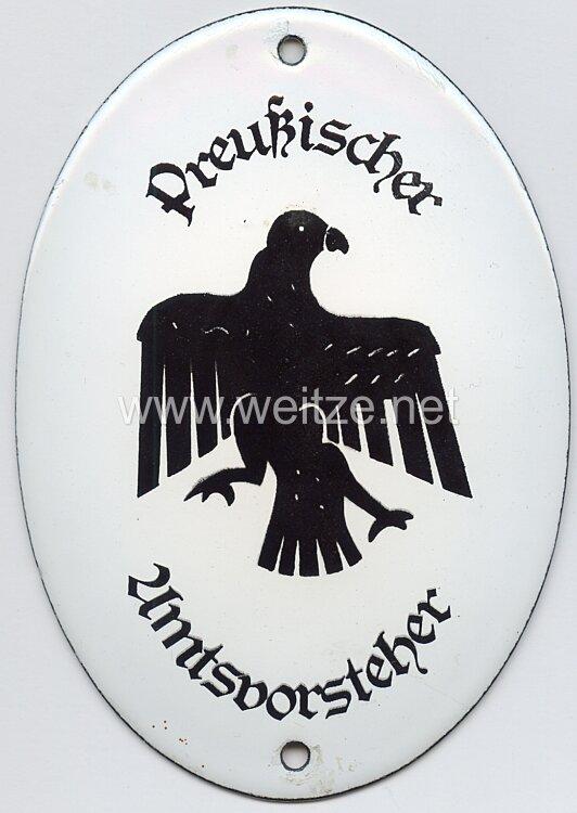 """Preußen - Emailleschild """" Preußischer Amtsvorsteher """""""