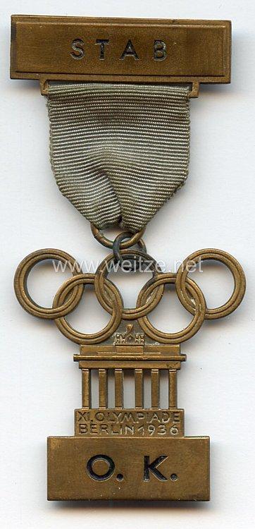 XI. Olympischen Spiele 1936 Berlin - Offizielles Teilnehmerabzeichen eines Angehörigen des Stabes des Organisations-Komitees