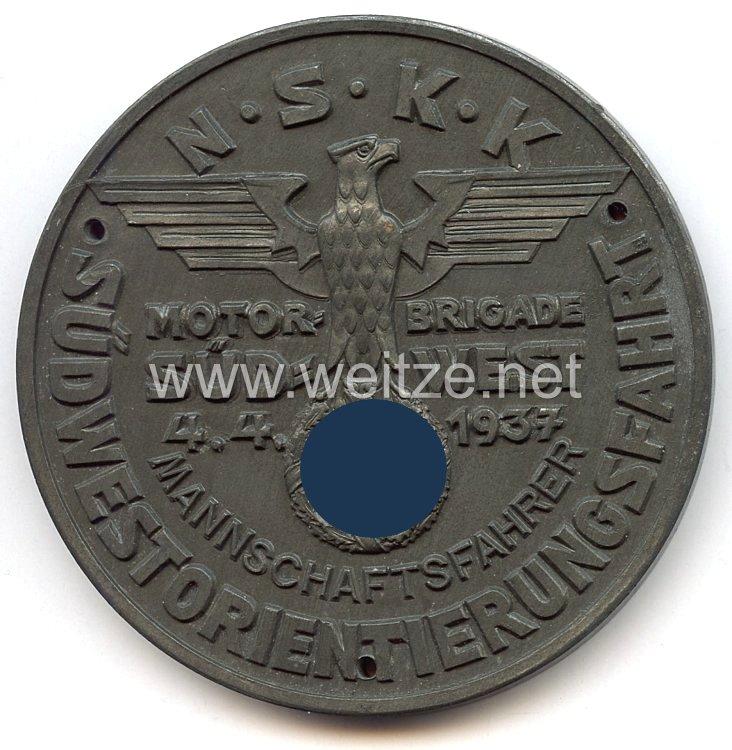 """NSKK - nichttragbare Teilnehmerplakette - """" Motorbrigade Südwest - Südwest-Orientierungsfahrt 4.4.1937 - Mannschaftsfahrer """""""