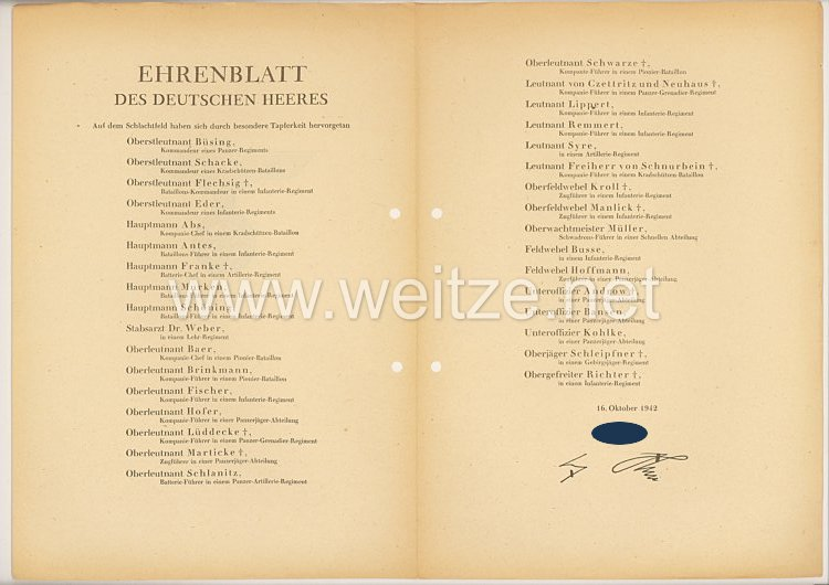 Ehrenblatt des deutschen Heeres - Ausgabe vom 16. Oktober 1942
