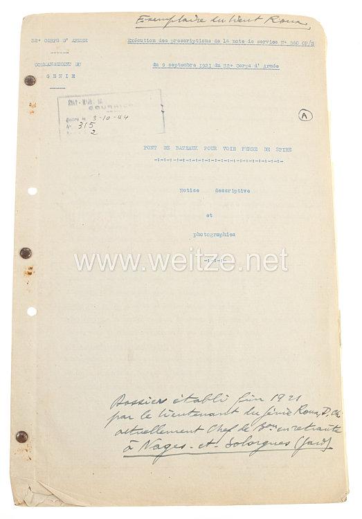 Frankreich Fotoalbum Besatzungsarmeeim RheinlandFotografisches Protokoll der der Bahn-Brücke in Speyer, 9. September 1921